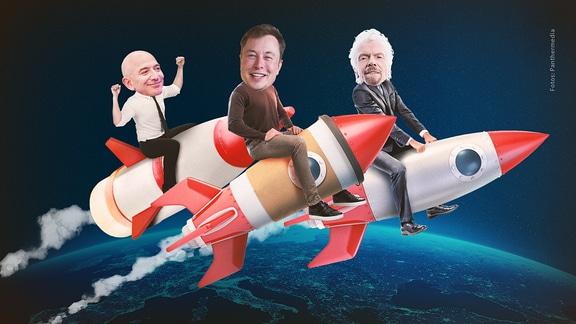 Musk, Bezos & Branson reiten auf Rakten durchs All