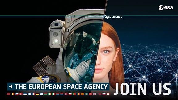 Bildkombo - Auf der linken Seite befindet sich ein Astronautenhelm, auf der rechte Seite eine rothaarige, junge Frau.