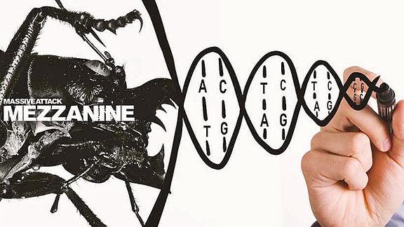 Collage aus dem Album-Cover von Mezzanine der Band Massive Attack