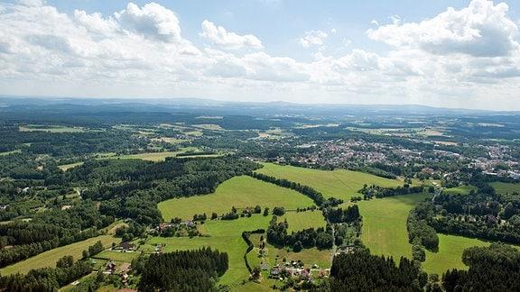 Hügellandschaft in Thüringen.