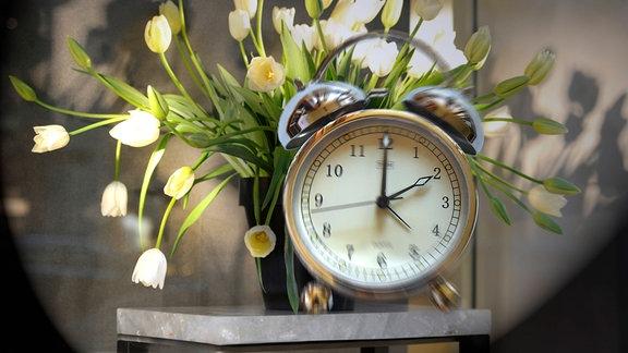 Wecker vor Tulpenstrauß