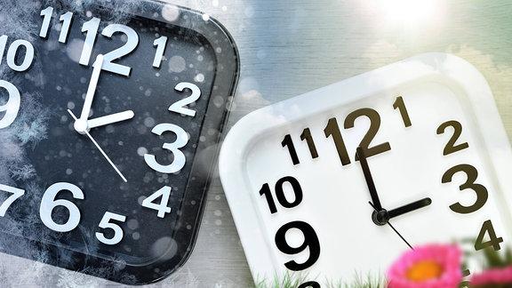 Zwei Uhren mit Schneeflocken und Sonnenstrahlen