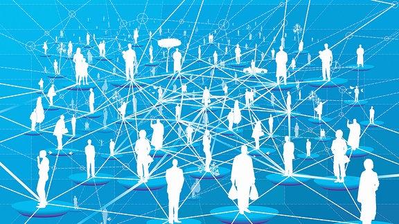 Illustration - iele Menschen verbunden in einem Netzwerkmuster