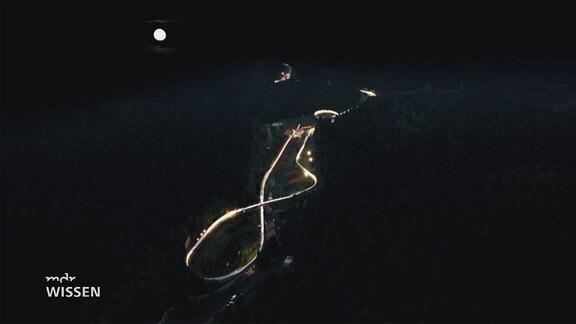 Bobbahn bei Nacht