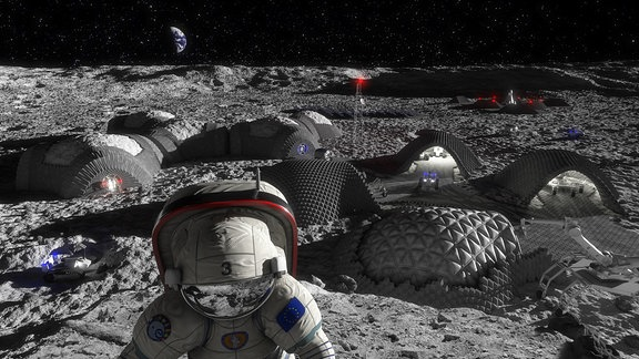 Künstlerische Grafik: Ein Astronaut steht auf dem Mond, im Hintergrund sind kuppelartige Gebäude zu sehen, die teilweise in die Mondoverfläche eingegraben sind.