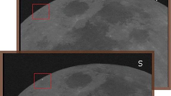Ausschnitt vom Mond auf zwei Bildern. Je links oben im Bild ein rotes Viereck  um einen roten Punkt.