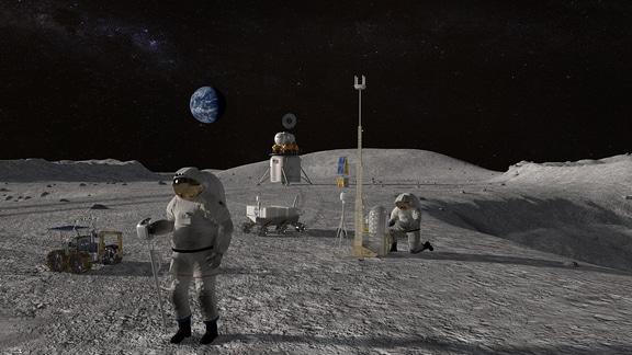 Visualisierung von Astronauten auf dem Mond mit Landemodul, Rover, Wagen, Messestation und der Erde im Hintergrund.