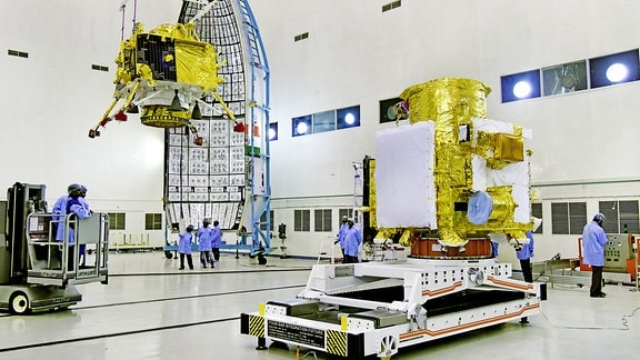 Hoisting of Vikram lander during Chandrayaan2 spacecraft integration at launch centre