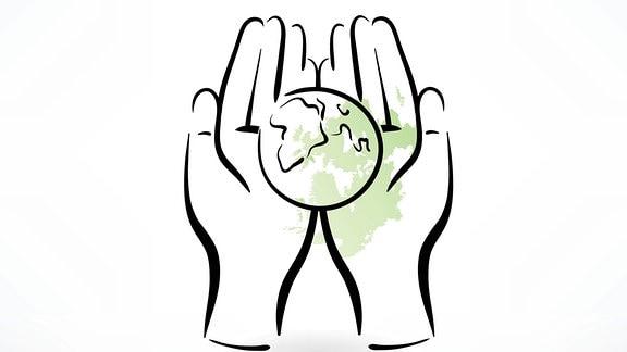 Illustration - zwei Hände halten die Weltkugel