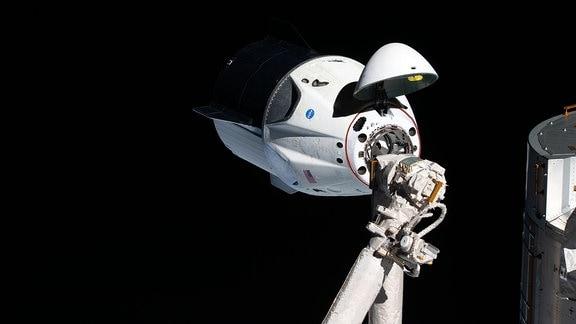 Raumschiff SpaceX Crew Dragon mit sichtbaren Andockmechanismus