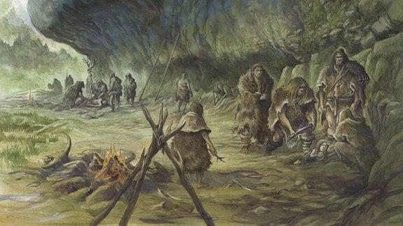 Rekonstruktion von Neandertaler-Begräbnis