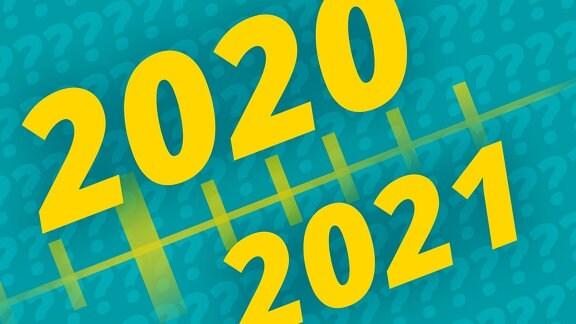 Grafik mit einem angedeuteten Zeitrahl, schräg, vielen Fragezeichen im Hintergrund und großen Jahreszahlen 2020 und 2021 im Vordergrund