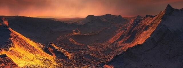 Oberfläche einer Supererde, die Barnards Stern umkreist.