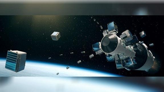 Oberstufe der Rakete Falcon-9 während des Auswurfs der Satelliten