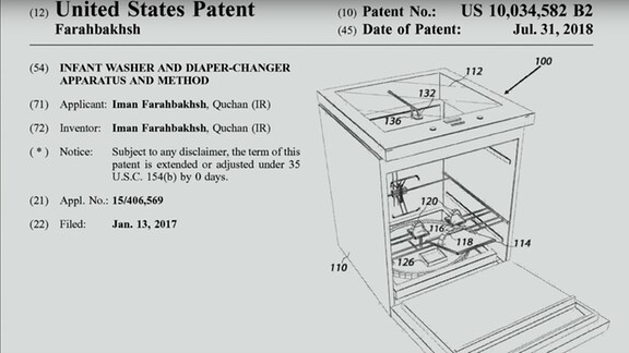 Dokument auf dem das Patent der Windelwechselmaschine zu sehen ist, inkl. Strichzeichnung der Maschine, die an einen Geschirrspüler erinnert.