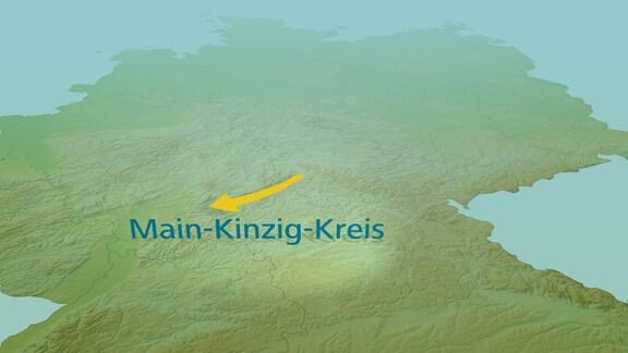 Eine Deutschlandkarte mit einem Pfeil Richtung Main-Kinzig-Kreis