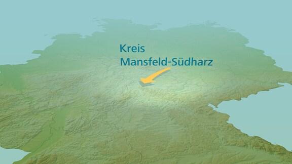 Eine Deutschlandkarte mit einem Pfeil ausgehend vom Kreis Mansfeld-Südharz