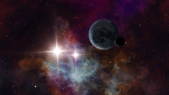 Planeten im Weltall mit zwei Sonnen