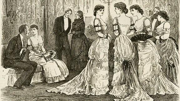 Modische Frauen deren Oberarme zur Impfung freigemacht sind, Ende des 19. Jahrhunderts