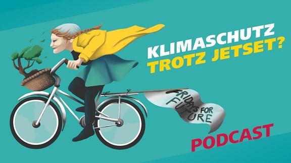 """Eine Grafik, die eine Frau auf einem Fahrrad zeigt sowie der Schriftzug """"Klimaschutz trotz Jetset"""" und der Hinweis"""
