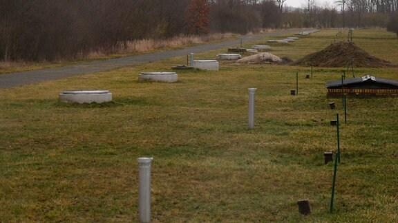 Blick auf die Brunnengalerie am Wasserwerk Canitz: zahlreiche Brunnendeckel ragen aus einem Feld.