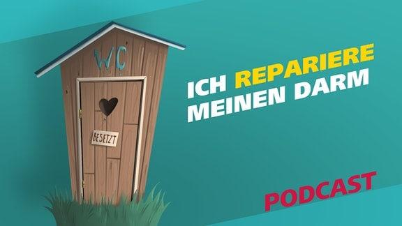 """Covergrafik der Podcast-Episode """"Ich repariere meinen Darm"""". Zu sehen ist ein Toilettenhäuschen aus Holz mit einem kleinen, herzförmigen Loch in der Tür."""