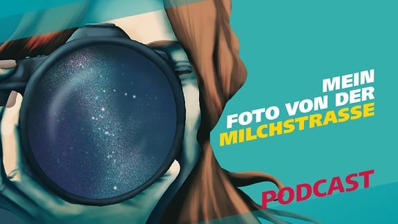 """Covergrafik für die Episode """"Mein Foto von der Milchstraße"""" von der MDR-Wissen-Podcast-Reihe """"Meine Challenge"""". Links ist eine Illustration zu sehen, bei der eine junge Frau eine Fotokamera vor ih Gesicht hält. In der Linse der Kamera ist der Sternenhimmel zu sehen."""