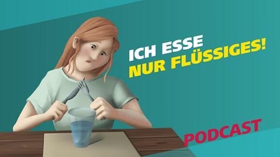 """Die Grafik zeigt eine junge Frau am Essenstisch mit Messer und Gabel in der Hand und auf dem Tisch steht lediglich ein Glas Wasser. Daneben der Schriftzug """"Ich esse nur Flüssiges"""""""