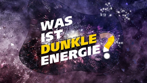 """Schriftzug """"WAS IST DUNKLE ENERGIE?"""" vor einer abstrakten Struktur, die das Universum symbolisiert"""