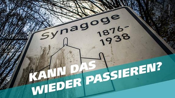 Schriftzug 'Kann das wieder passieren?' vor Synagogen-Gedenkschild