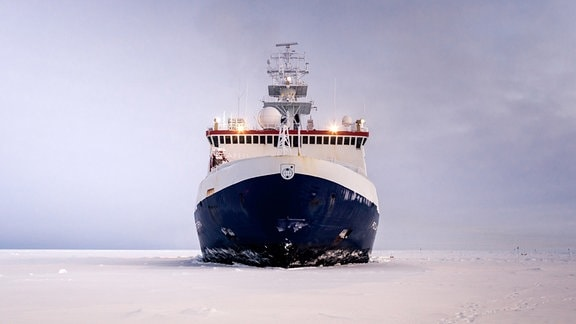 Das Forschungsschiff Polarstern vor vorn aufgenommen.
