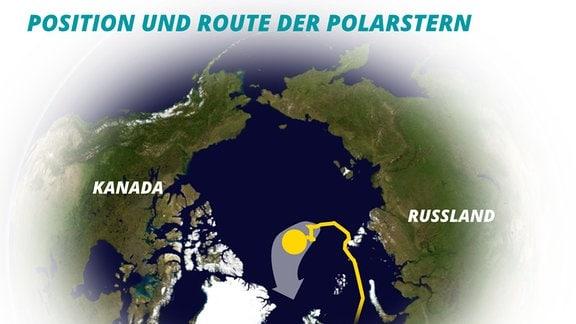 """Satellitenbild der Erde mit weichen Kanten zu weiß: Nordpol zentral, in der Nähe ein gelber Punkt und dahinter eine Zickzack-Linie aus Richtung Skandinavien. Heller, dicker Pfeil zeigt Drift-Richtung (Europa/Süden), Beschriftung: """"Position udn Route der Polarstern; Länder markiert: Kanda, Russland)"""