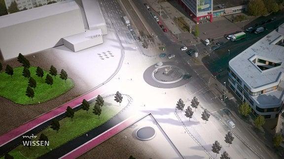 Eine Straßenkreuzung, über die ein grafischer weißer Streifen liegt. Rechts vom Streifen ist die Kreuzung mit Autos, links davon ohne.