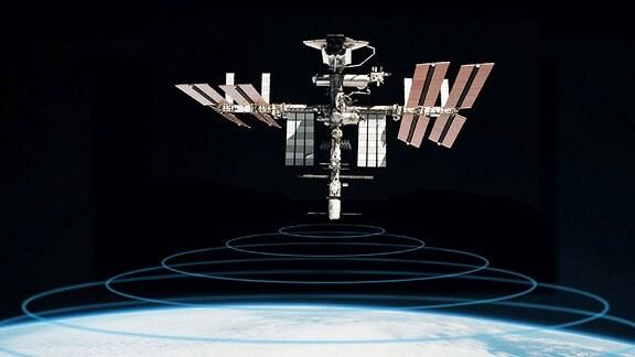 Die Icarus Antenne wird an der ISS montiert.