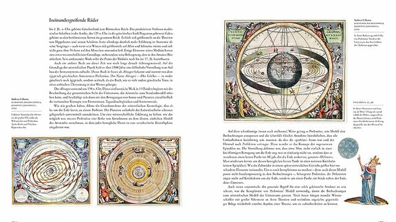 Drei Bilder auf dieser Doppelseite zeigen die Erde im MIttelpunkt des Kosmos, umkreist von den Planeten und Sternbildern. Das vierte Bild stellt den Philosophen Ptolemäus als König dar, der den Himmel beoabachtet.