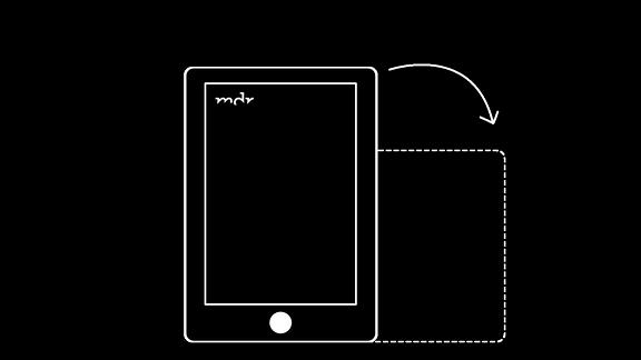 Piktogramm, das anzeigt, dass die Multimediareportage im Querformat genutzt werden soll.