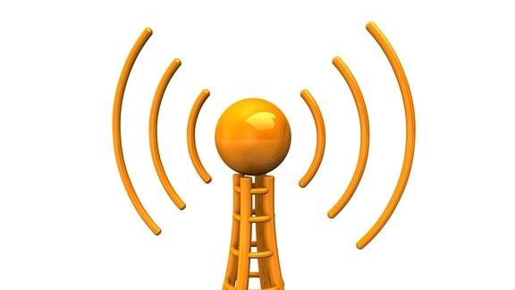 Grafische Darstellung: Orangener Antennenturm sendet Radiowellen aus.
