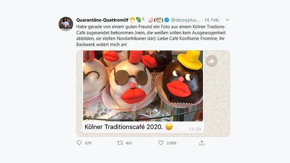 Twitter-Kommentar zu den Süßwaren in der Auslage eines Cafés