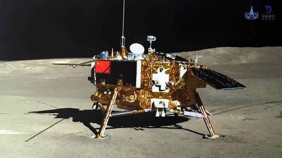 Das Foto, das der Rover Yutu-2 (Jade Rabbit-2) am 11. Januar 2019 aufgenommen hat, zeigt den Lander der Sonde Chang e-4.