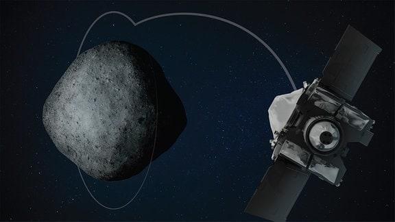 Touchdown-Manöver der Raumsonde Osiris-Rex auf Asteroid Bennu Künstlerische Darstellung