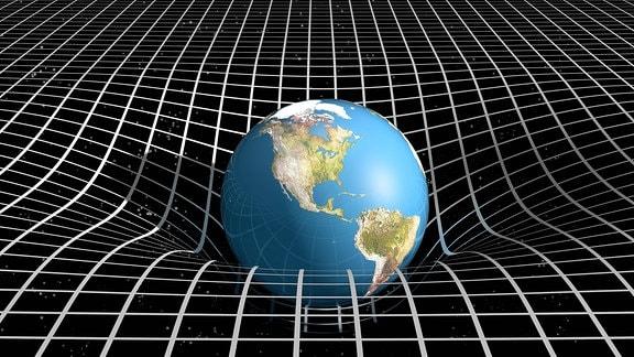 Die Erde in der Verbindung von Raum Zeit und Gravitation (Raumzeit )