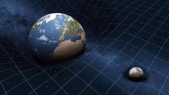 Verzerrungen im Weltraum durch Erde und Mond Raumzeit