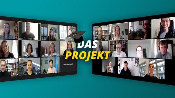 """Zwei perspektivisch nach hinten verlaufende Screenshot: Verschiedene Webcam-Bilder mit verschiedenen Frauen und Männern in einer Videokonferenz. Schriftzug """"Das Projekt"""" mit akademischem Abschluss-Hut auf Buchstabe D"""