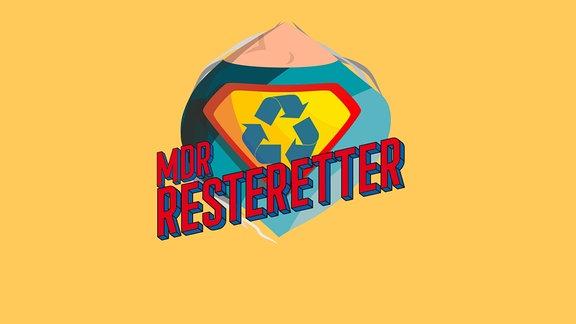 """Ein Müllsack mit Superman-Dreieck und dem Schriftzug """"MDR Resteretter"""""""