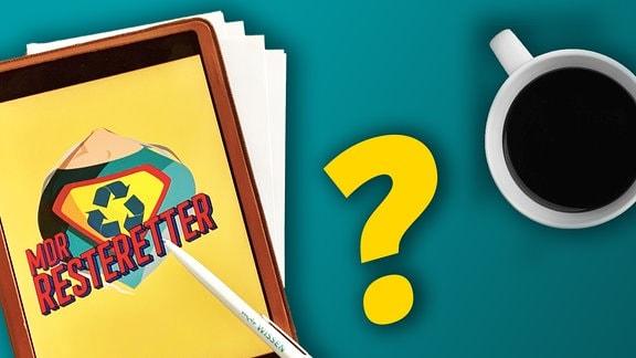 iPad mit großem Resteretter-Logo auf Bildschirm, Papier im Hintergrund, MDR WISSEN-Kugelschreiber, großes gelbes Fragezeichen, Kaffeetasse von oben; alles freigestellt auf blauem Hintergrund