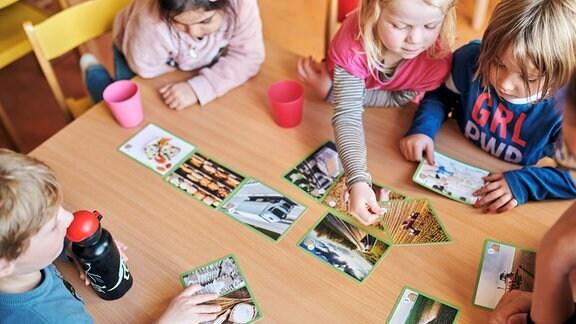 Draufsicht: Kindergartenkinder sitzen um einen Tisch und begutachten oder sortieren Fotos die Etappen der Lebensmittelproduktion zeigen