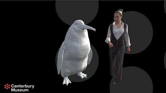 Screenshot aus einer 3D-Animation zeigt ein lebensgroßes Modell eines Riesenpinguin Crossvallia waiparensis
