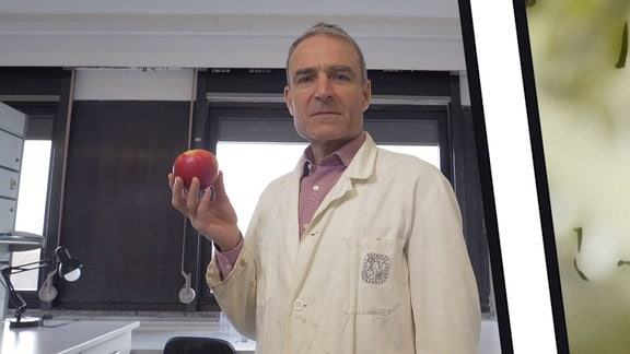 Robert Paxton hält einen Apfel in der Hand.