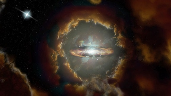 Künstlerische Darstellung der Wolfe-Scheibe, einer massereichen rotierenden Scheibengalaxie im frühen, staubigen Universum. Die Galaxie wurde ursprünglich entdeckt, als ALMA das Licht eines weiter entfernten Quasars untersuchte (oben links).