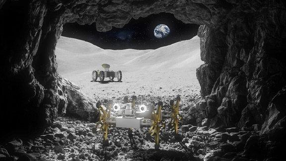 Zwei Fahrzeige auf dem Mond, im Hintergrund die Erde